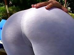 Hot blonde MILF babe gives hard BJ outdoors