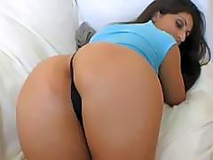 Brunette with big butt gets her shaved minge licked and rammed